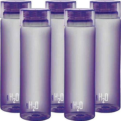 Cello present H2O PET 1000 ml BPA free, Leak Proof, Break proof, Crystal clear, 100% food grade, Hygenic, Freezer safe water bottel in set of 5 pcs Purple color