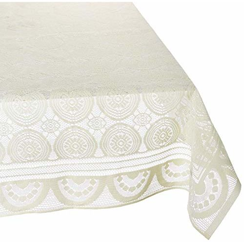 Kuber Industries Designer Dining Table Cover Cream Cloth Net for 6 Seater 60 * 90 Inches (Self Design)