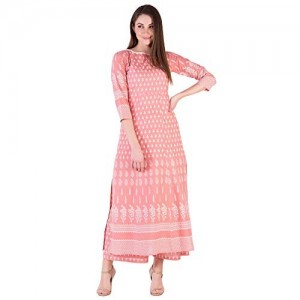Amayra Peach Cotton Straight Kurti With Palazzos