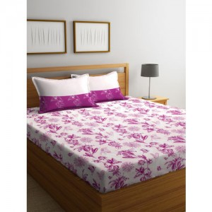 Trident Purple Floral Flat 144 TC Cotton 1 King Bedsheet with 2 Pillow Covers