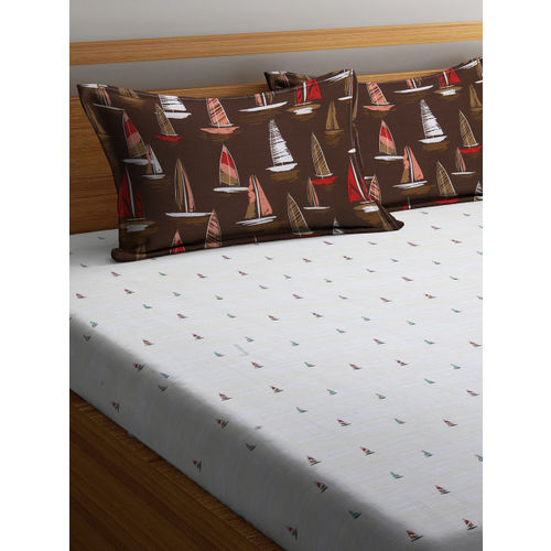Trident Off-White Flat 130 TC Cotton 1 Double Bedsheet with 2 Pillow Covers