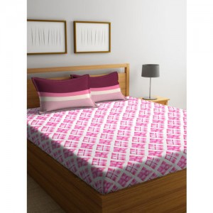 Trident White & Pink Printed Flat 132 TC Cotton 1 Double Bedsheet with 2 Pillow Covers
