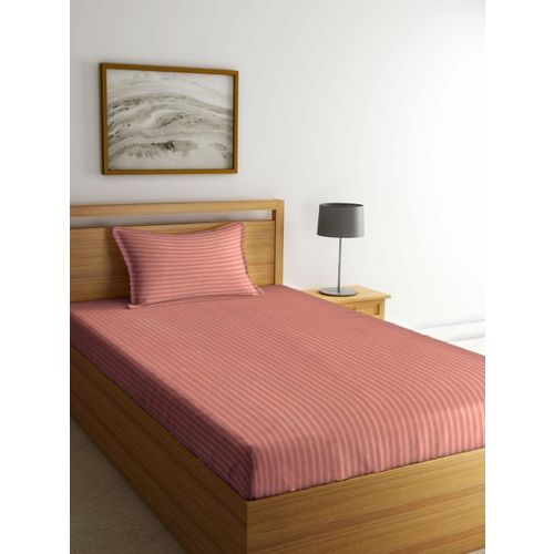 Trident Coral Pink Solid Flat 201 TC Single Bedsheet with 1Pillow Cover