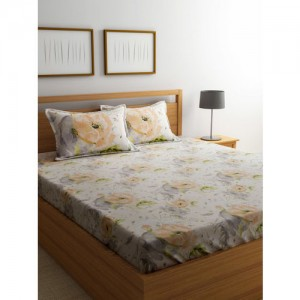 Trident Off-White & Orange 180 TC Cotton Double King Bedsheet with 2 Pillow Covers