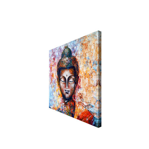 999Store Brown & Multicoloured Hand-Painted Buddha Face Wall Painting