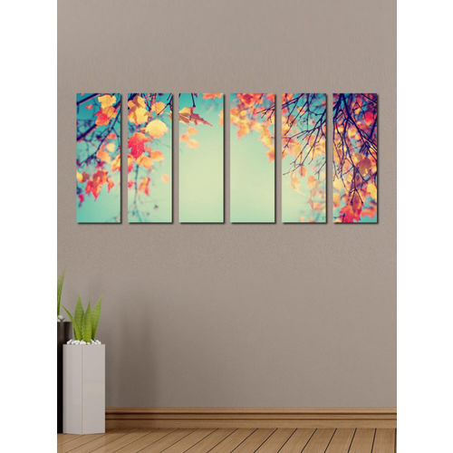 999Store Multicoloured Set of 6 Yellow Leaves Tree Wall Art