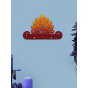 999Store Red & Yellow Hand Painted Wooden Key Holder