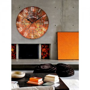 RANDOM Orange Dial Wooden 29.2 cm Analogue Wall Clock