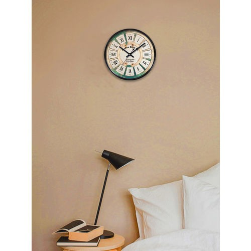 RANDOM Beige & Black Printed Dial Round Analogue Wall Clock