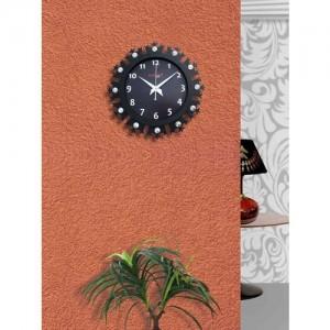 RANDOM Black Dial Wooden 30 cm Analogue Wall Clock
