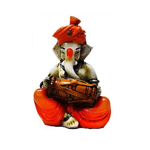 eCraftIndia Lord Ganesha playing Dholak (LxWxH - 3INx3INx5IN)