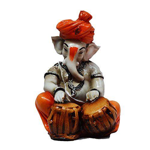 eCraftIndia Lord Ganesha playing Tabla (LxWxH - 3INx3INx5IN)