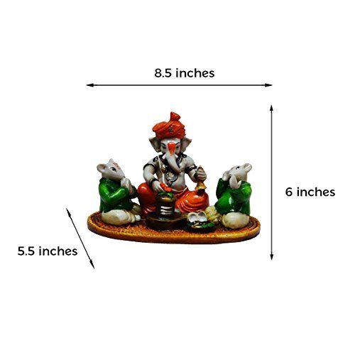 eCraftIndia Lord Ganesha performing Shiva Pooja with 2 Rats (LxWxH - 8.5INx5.5INx6IN)