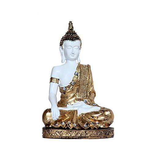 eCraftIndia Handcrafted Meditating Decorative Buddha Polyresin Statue (17.5 cm x 7.5 cm x 27.5 cm, Golden and White)