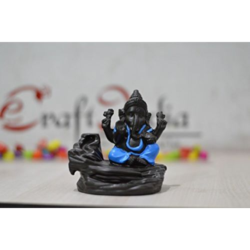 eCraftIndia Ganesha Smoke Backflow Incense Holder (7 cm x 7 cm x 12 cm, Dark Brown)