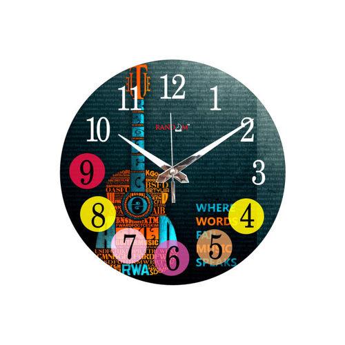 RANDOM Black Printed Dial 29.21 cm Analogue Wall Clock