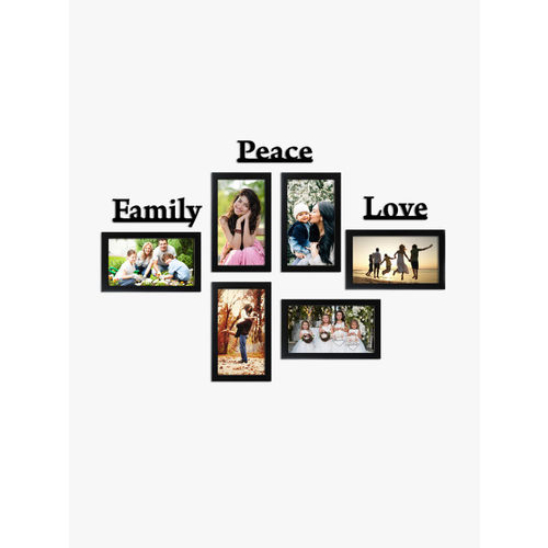 Random Set of 6 Black Photo Frames With Family Peace Love Plaque