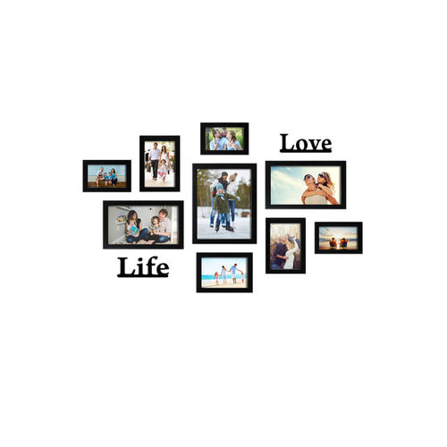 Random Set of 9 Black Solid Photo Frames With
