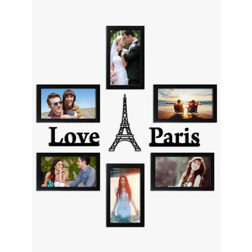 Random Set of 6 Black Photo Frames With Love Paris Plaque