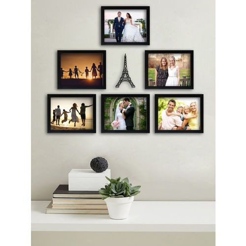 Random Set of 6 Black Solid Photo Frames With Eifell Tower Plaque