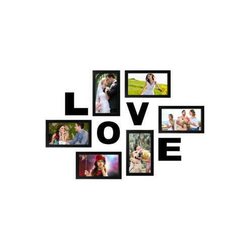 Random Set of 6 Black Photo Frames With Love Plaque