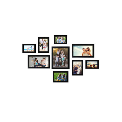 Random Set of 9 Black Solid Photo Frames