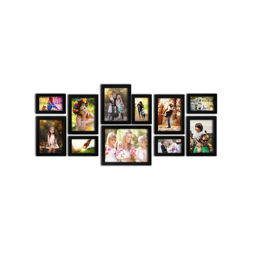 RANDOM Set of 11 Black Wall Photo Frames