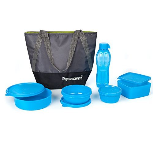 Signoraware Sling Jumbo Plastic Lunch Box Set, 5-Pieces