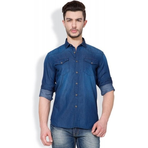Highlander Blue Cotton Denim Solid Men's Casual Shirt