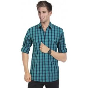 Blackburne Inc Blue Cotton Checked Men's Casual Shirt