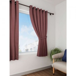 Lushomes Brown Solid Window Curtain