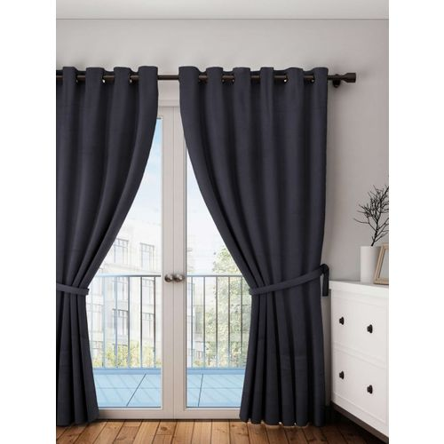 Lushomes Black Solid Door Curtain