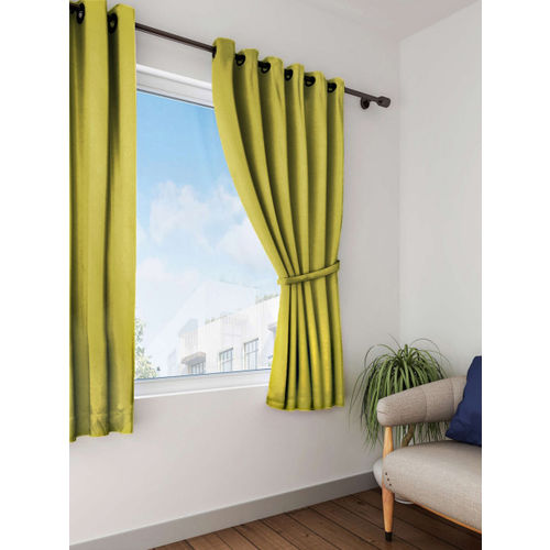 Lushomes Green Solid Single Window Curtain