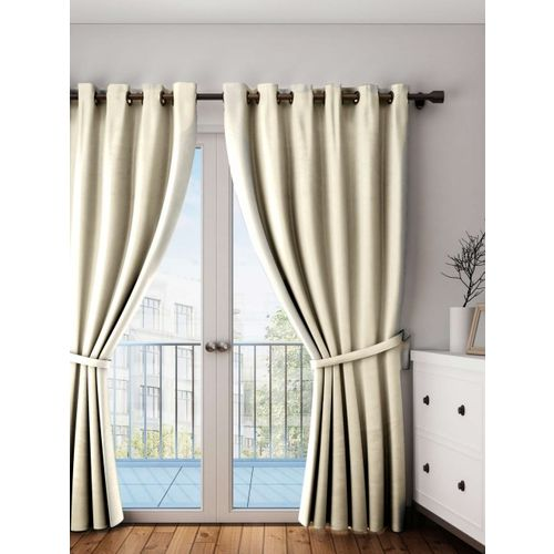 Lushomes Off-White Solid Window Curtain