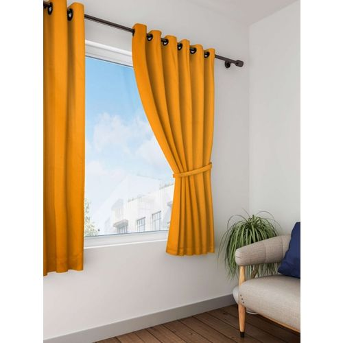 Lushomes Orange Solid Window Curtain