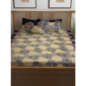 Story@home Grey & Beige Ethnic Motifs Flat 120 TC Cotton Bedsheet with 2 Pillow Covers