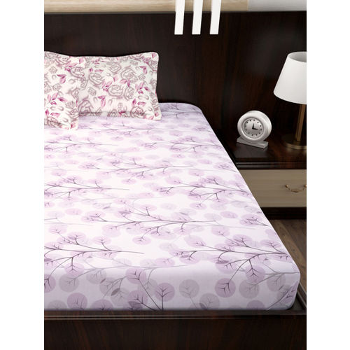 Story@home White & Purple Floral Flat 150 TC Cotton Queen Bedsheet with 2 Pillow Covers