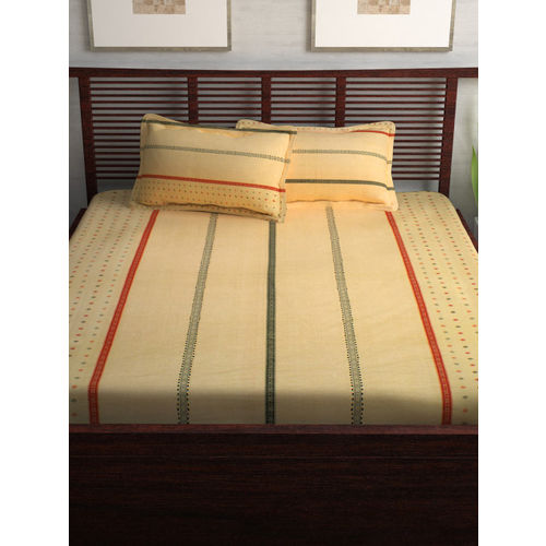 Story@home Yellow Striped Flat 120 TC Cotton Bedsheet with 2 Pillow Covers