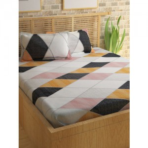Story@home Multi-Coloured Printed Cotton 180 TC Double Bedsheet with 2 Pillow Covers