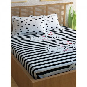 Story@home White & Black Cotton 240 TC Fine Double Bedsheet with 2 Pillow Covers