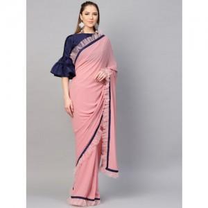 Inddus Pink & Pink & Navy Blue Solid Saree