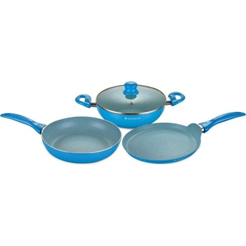 Wonderchef Blue Non Stick Induction Bottom Cookware Set (Diana Set,Combo)