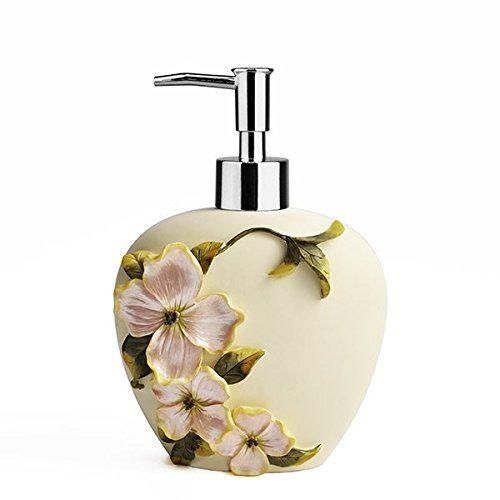 Shresmo 4 Piece Polyresin Floral Designer Bath Set Collection of Liquid Soap Dispenser, Toothbrush Holder, Tumbler and Soap Dish, Cream -