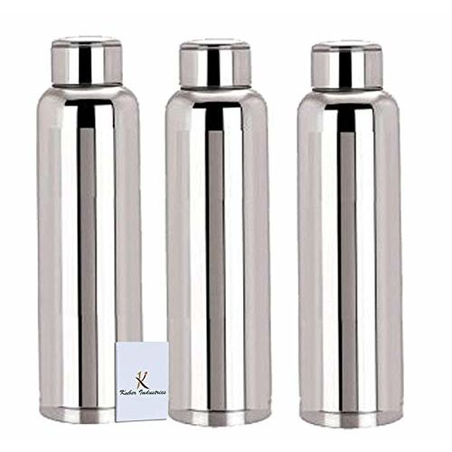 Kuber Industries Stainless Steel 3 Pcs Fridge Water Bottle/Refrigerator Bottle/Thunder(1000 ML)-CTKTC6003