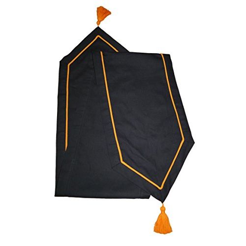 Lushomes Black Table Runner with Orange Contrasting Cord Piping