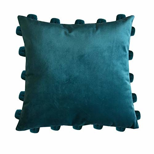 Lushomes Smooth Velvet Cushion Covers with Matching Vibrant Pom Poms (Single Pc, 16 x 16)