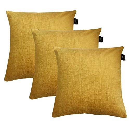 Lushomes Yellow Embossed BlackBerry Cushion Cover (Pack of 3) Size : 12