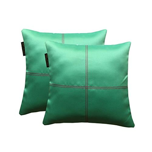 Lushomes Blue Stone Blackout Cushion Cover with Artistic Stitch