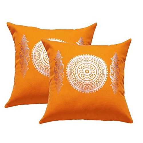 Lushomes Dark Orange Cushion Covers with Silver Foil Print (Pack of 2)