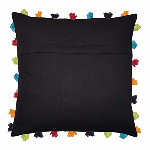 Lushomes Colorful Cushion Cover with Colorful Tassels (Single pc, 20 x 20)